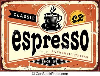 expresso, zeichen, weinlese, authentisch, italienesche, zinn