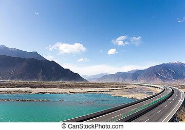 expressway in tibet - highway across the yarlung zangbo...