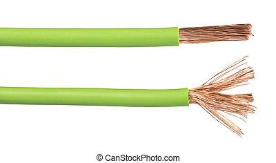 expuesto, cables, alambres