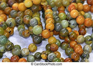 exquisite agate stones beads, closeup of photo