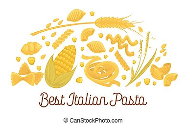 Exquisite delicious Italian pasta advertisement poster with pastry products