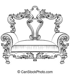 Exquisite Fabulous Imperial Baroque armchair engraved. Vector French Luxury rich intricate ornamented structure. Victorian Royal Style decor