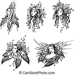 Exquisite fantasy girls. Set of black and white vector...