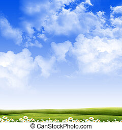 Exquisite landscape with blue skies, sunshine and green ...