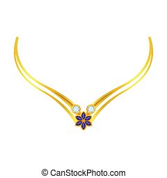 Exquisite necklace with precious stones. Vector illustration on white background.