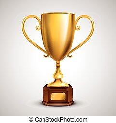 exquisito, trofeo, dorado