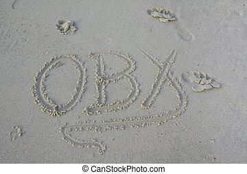 extérieur, écrit, abréviation, sable, obx, banques