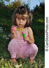 extérieur, été, bulles, enfance, heureux