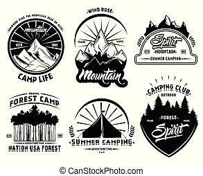 extérieur, étiquettes, ensemble, camping