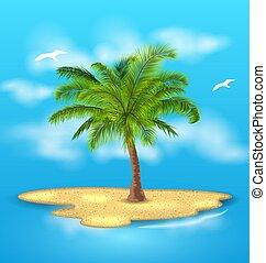 extérieur, île, vacances, arbre tropical, paume