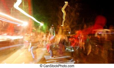 extérieur, agréable, coups, danse, foule, séquence, concert, raies, long, lumière, exposé
