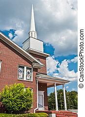 extérieur, américain, moderne, église