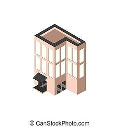 extérieur, bâtiment, style, compagnie, isométrique