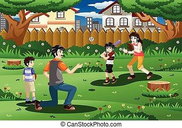 extérieur, base-ball, jouer, famille