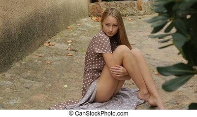 extérieur, beau, poser, jeune fille