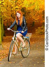 extérieur, beauté, délassant, parc, vélo, automne, girl