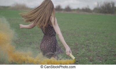 extérieur, bombe, couleur, rotation, girl, smile., lent,...