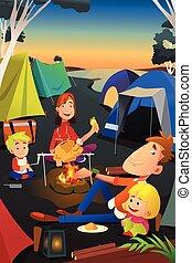 extérieur, camping famille