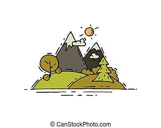 extérieur, camping, griffonnage, theme., arbres, prés, adventure., vecteur, montagnes vertes, conception, style., paysage
