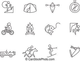 extérieur, -, contour, icônes