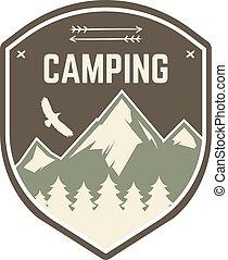 extérieur, désert, couleur, logo, design., montagne, style, camping, vendange, voyage, hipster, retro, vector., insignia., badge., emblème, explorateur, symbole., arbres, aventure, label., aigle, camp, stamp.