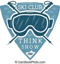 extérieur, désert, couleur, snowboard, logo, goggles., étiquette, design., montagne, hiver, camping, vendange, voyage, sports, hipster, ski, insignia., badge., explorateur, club, symbole., aventure, icône, emblem., vecteur