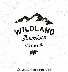 extérieur, désert, vendange, illustration, main, vecteur, retro, appelé, dessiné, emblem., logo., aventure