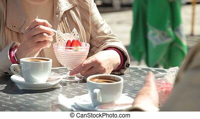 extérieur, dessert, café, manger