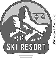extérieur, elements., désert, nature, vendange, emblèmes, silhouettes, vecteur, exploration, soleil, polonais, ski, montagnes