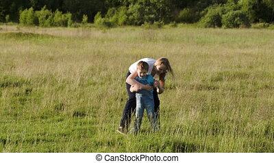 extérieur, elle, jeune, fils, jeu mère
