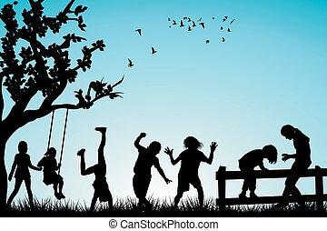 extérieur, enfants jouer