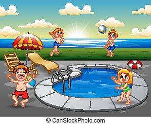 extérieur, enfants, plage, mare jouant, natation