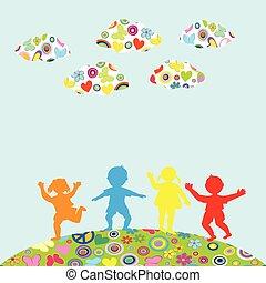 extérieur, enfants, silhouettes, dessiné, main, jouer