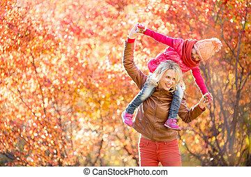 extérieur, ensemble, avoir, automne, fa, mère, amusement, gosse, ou, heureux