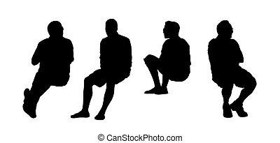 extérieur, ensemble, gens, assis, silhouettes, 12