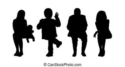 extérieur, ensemble, gens, assis, silhouettes, 2