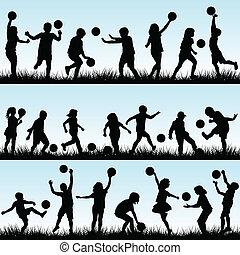 extérieur, ensemble, jouer, balles, enfants