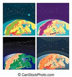 extérieur, ensemble, la terre, espace