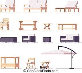 extérieur, ensemble, patio, vecteur, meubles