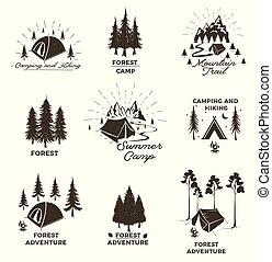 extérieur, equipment., camp, forêt, vecteur, ou, tente, été, camping, aventure, logos, montagnes., ensemble, elements., badges., illustration., emblèmes, vendange, conception