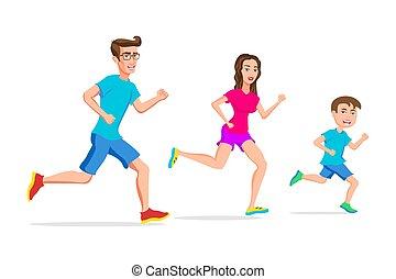 extérieur, famille, activités, caractère, jeune, fils, willpower., conception, sport, père, isolé, plat, illustration, courant, actif, élever, esprit, jogging, vecteur, mère, passe-temps, ou