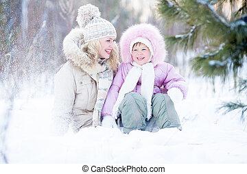 extérieur, famille, séance, hiver, neige, heureux