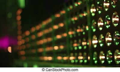 extérieur, festival, haut, lumières, musique, lasers, fin