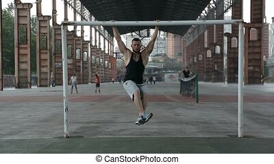 extérieur, fort, abs, sportif, exercice