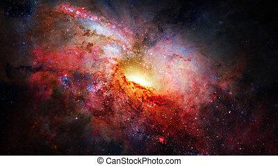 extérieur, galaxies, scène, space., nebulae, étoiles, univers