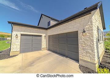 extérieur, garage, angles droits, portes, double