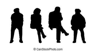 extérieur, gens, silhouettes, assis, 3, ensemble