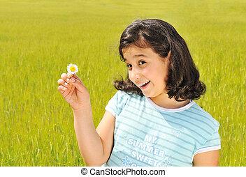 extérieur, girl, blanc, sourire heureux, fleur