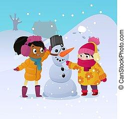 extérieur, girs, vacation., promenade, outdoors., enfants, rigolote, peu, hiver, neige, day., vecteur, noël, heureux, neigeux, ensoleillé, homme, bâtiment, gosses, snowman., dehors, amusement, jouer