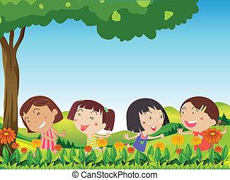 extérieur, gosses, fleurir, fleurs, jouer, heureux